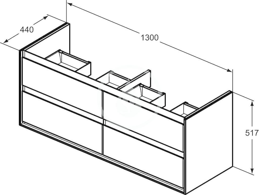 IDEAL STANDARD - Connect Air Skříňka pod dvojumyvadlo, 1300x440x517 mm, lesklá světlá šedá/bílá mat (E0824EQ)