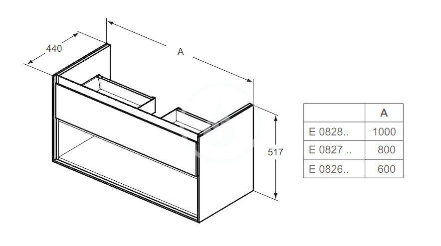 IDEAL STANDARD - Connect Air Skříňka pod umyvadlo 600x440x517 mm, dekor šedý dub/bílá mat (E0826PS)