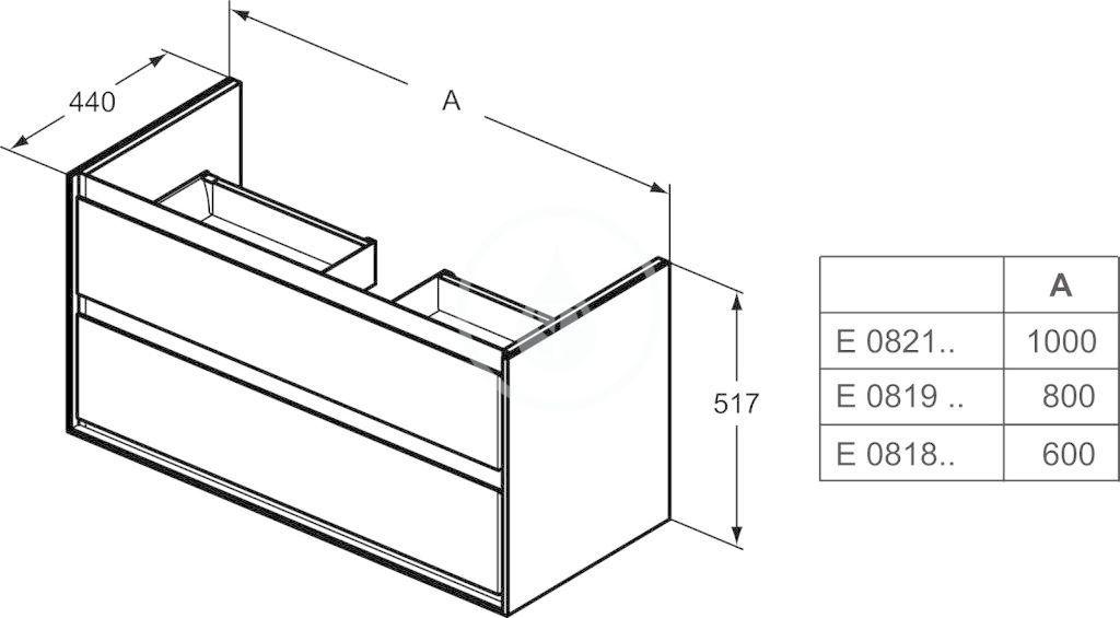 IDEAL STANDARD - Connect Air Skříňka pod umyvadlo, 600x440x517 mm, lesklá bílá/světlá šedá mat (E0818KN)