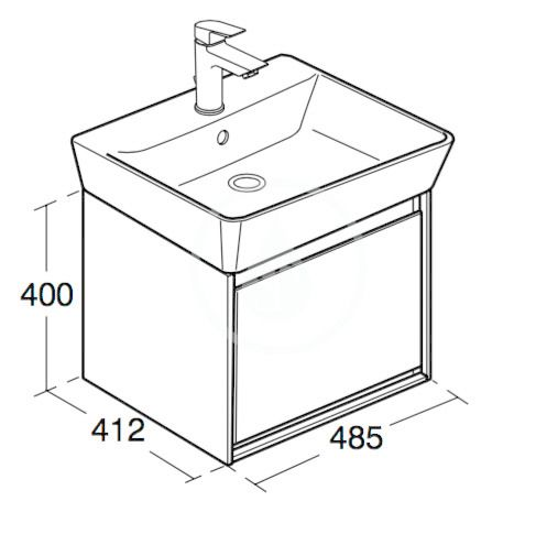 IDEAL STANDARD - Connect Air Skříňka pod umyvadlo Cube 550 mm, 480x409x400 mm, dekor světlé dřevo/světlá hnědá mat (E0844UK)