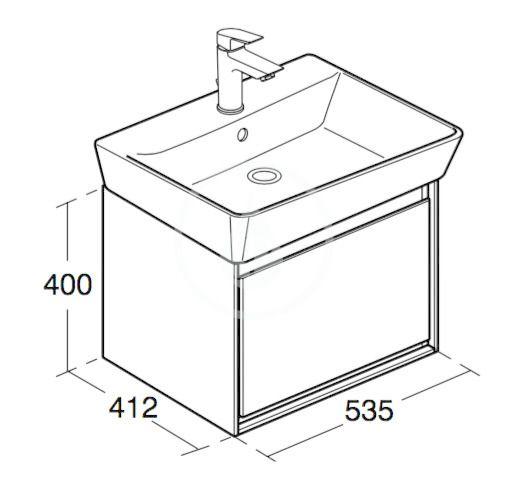 IDEAL STANDARD - Connect Air Skříňka pod umyvadlo Cube 600 mm, 530x409x400 mm, dekor šedý dub/bílá mat (E0846PS)