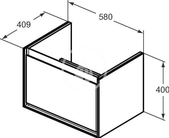 IDEAL STANDARD - Connect Air Skříňka pod umyvadlo Cube 650 mm, 580x409x400 mm, lesklá bílá/světlá šedá mat (E0847KN)