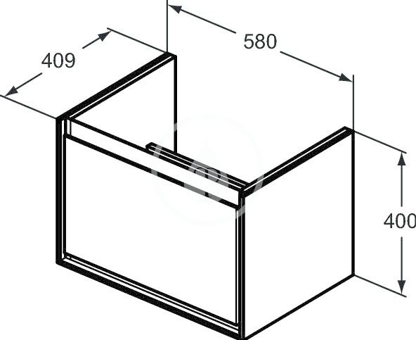 IDEAL STANDARD - Connect Air Skříňka pod umyvadlo Cube 650 mm, 580x409x400 mm, hnědá mat/bílá mat (E0847VY)