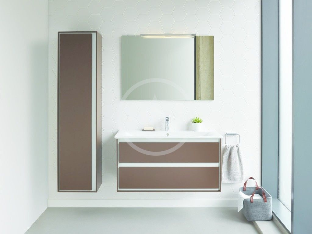 IDEAL STANDARD - Connect Air Vysoká skříňka 400x300x1600 mm, dekor šedý dub/bílá mat (E0832PS)