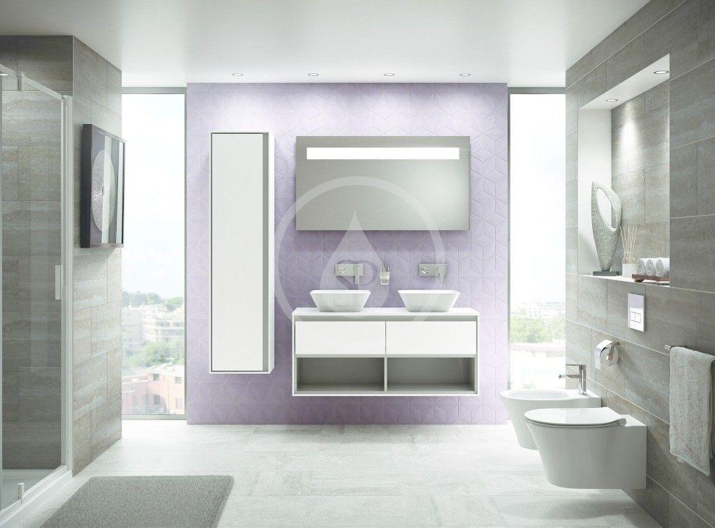 IDEAL STANDARD - Connect Air Vysoká skříňka 400x300x1600 mm, lesklá světlá šedá/bílá mat (E0832EQ)