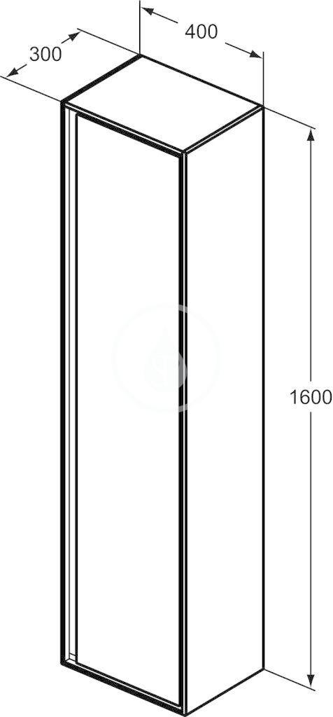 IDEAL STANDARD - Connect Air Vysoká skříňka 400x300x1600 mm, hnědá mat/bílá mat (E0832VY)