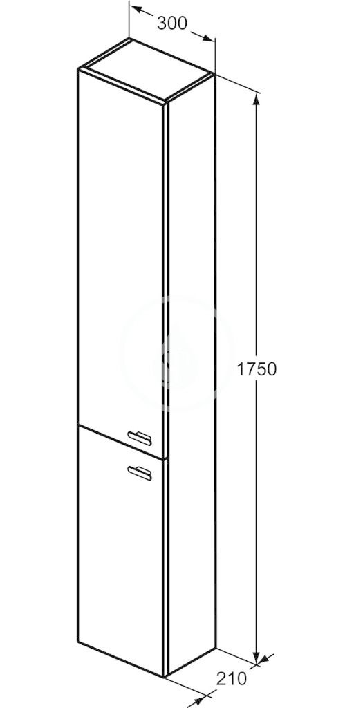 IDEAL STANDARD - Connect Space Vysoká skříňka 300x210x1750 mm, lesklá bílá (E0379WG)