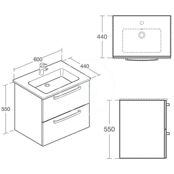 IDEAL STANDARD - Tempo Skříňka pod umyvadlo 600x440x550 mm, dub světle šedý (E3240SG)