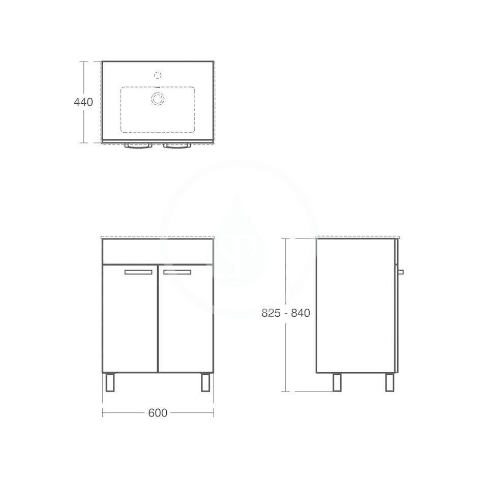 IDEAL STANDARD - Tempo Skříňka pod umyvadlo 600x440x740 mm, dub světle šedý (E3239SG)