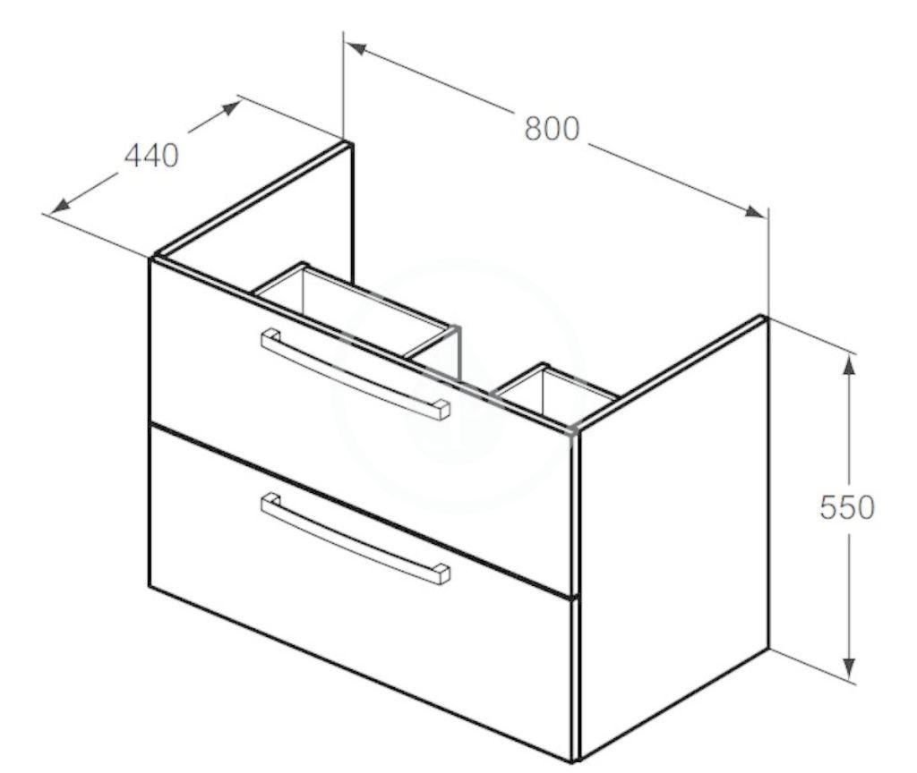 IDEAL STANDARD - Tempo Skříňka pod umyvadlo 800x440x550 mm, dub světle šedý (E3242SG)
