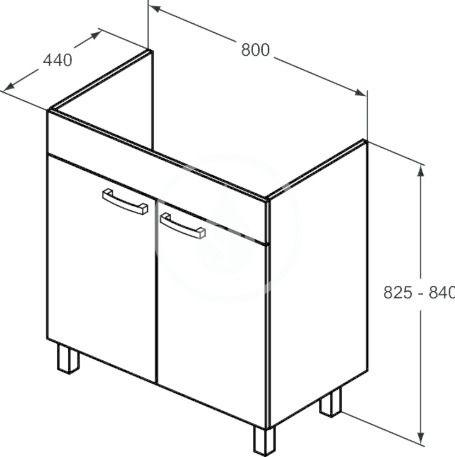 IDEAL STANDARD - Tempo Skříňka pod umyvadlo 800x440x740 mm, dub světle šedý (E3241SG)