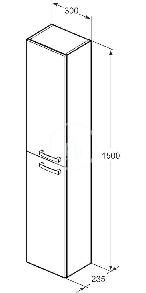 IDEAL STANDARD - Tempo Vysoká skříňka 300x235x1500 mm, dub světle šedý (E3243SG)