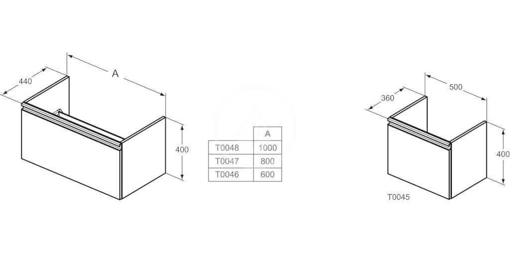 IDEAL STANDARD - Tesi Skříňka pod umyvadlo, 1000x440x400 mm, lesklá světle šedá (T0048PH)