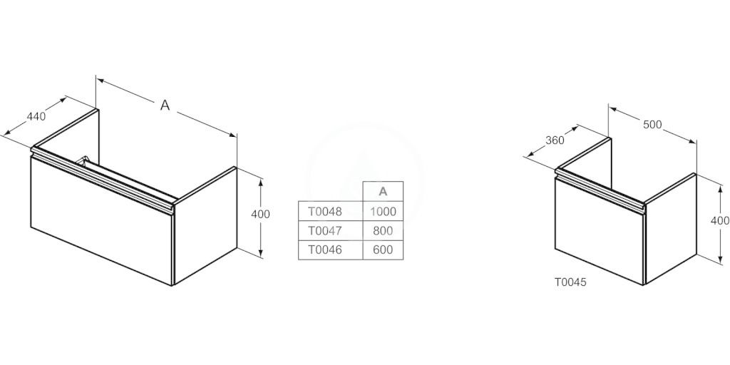 IDEAL STANDARD - Tesi Skříňka pod umyvadlo, 1000x440x400 mm, matná světle modrá (T0048WI)