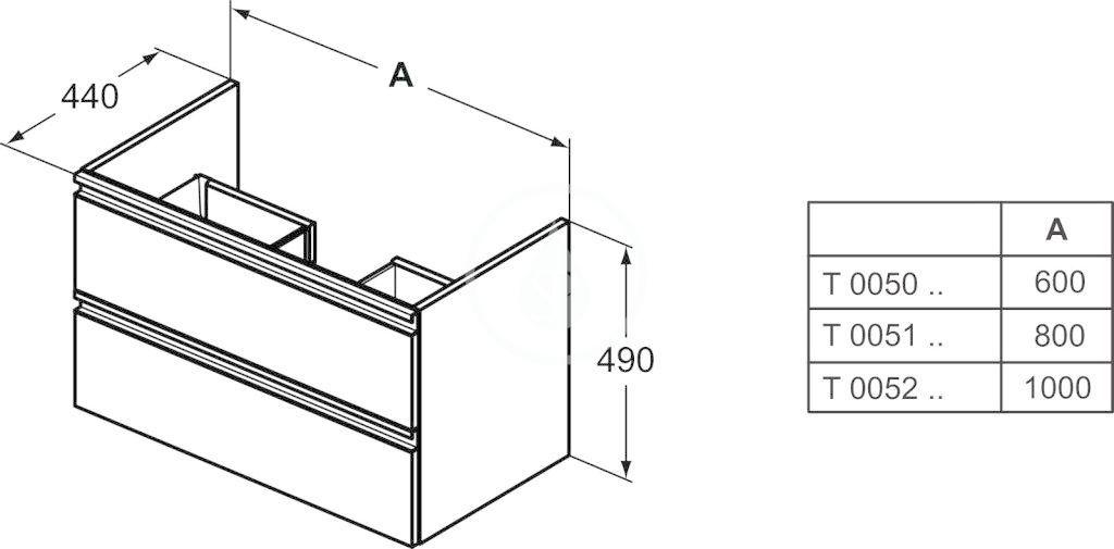 IDEAL STANDARD - Tesi Skříňka pod umyvadlo, 600x440x490 mm, lesklá světlá šedá (T0050PH)