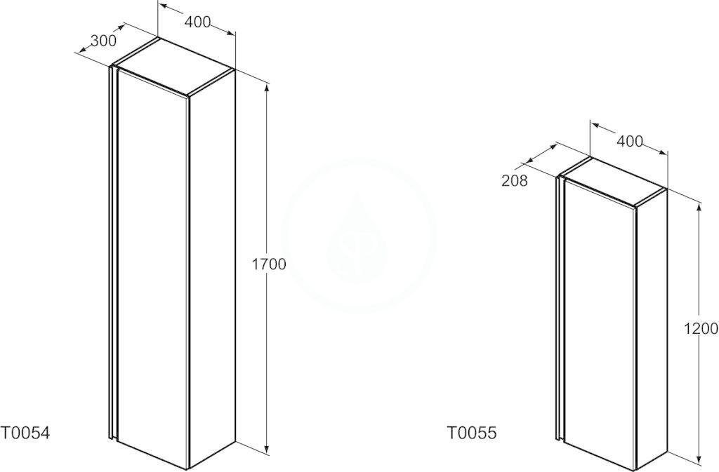 IDEAL STANDARD - Tesi Vysoká skříňka 400x300x1700 mm, lesklá světle šedá (T0054PH)