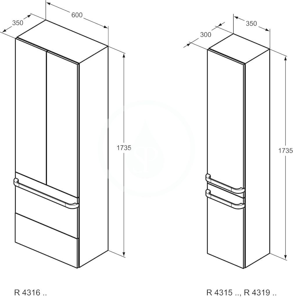IDEAL STANDARD - Tonic II Vysoká skříňka 350x300x1735 mm, pravá, lesklá světle hnědá (R4315FC)
