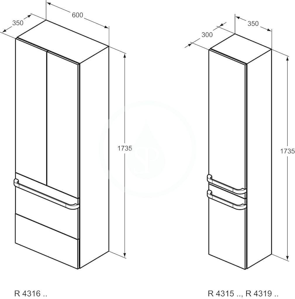 IDEAL STANDARD - Tonic II Vysoká skříňka 350x300x1735 mm, pravá, lesklá světle šedá (R4315FA)