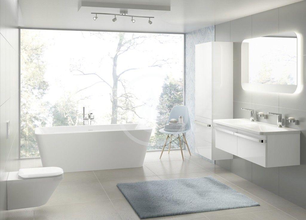 IDEAL STANDARD - Tonic II Vysoká skříňka 600x350x1735 mm, lesklá bílá (R4316WG)
