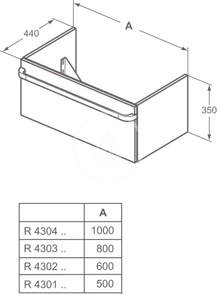 IDEAL STANDARD - Tonic II Skříňka pod umyvadlo, 1000x440x350 mm, světle šedý dub (R4304FE)