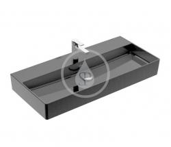 VILLEROY & BOCH - Memento 2.0 Umyvadlo nábytkové 1000x470 mm, bez přepadu, otvor pro baterii, CeramicPlus, Glossy Black (4A221HS0)