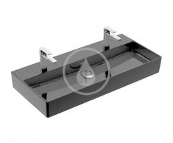 VILLEROY & BOCH - Memento 2.0 Dvojumyvadlo nábytkové 1000x470 mm, bez přepadu, 2 otvory pro baterii, CeramicPlus, Glossy Black (4A221KS0)
