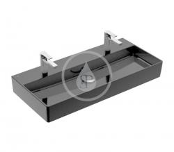 VILLEROY & BOCH - Memento 2.0 Dvojumyvadlo nábytkové 1000x470 mm, s přepadem, 2 otvory pro baterii, CeramicPlus, Glossy Black (4A221LS0)