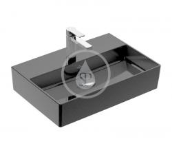 VILLEROY & BOCH - Memento 2.0 Umyvadlo nábytkové 600x420 mm, bez přepadu, otvor pro baterii, CeramicPlus, Glossy Black (4A226LS0)