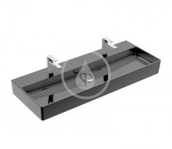 VILLEROY & BOCH - Memento 2.0 Dvojumyvadlo 1200x470 mm, bez přepadu, 2 otvory pro baterii, CeramicPlus, Glossy Black (4A22C1S0)