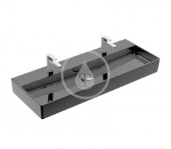 VILLEROY & BOCH - Memento 2.0 Dvojumyvadlo 1200x470 mm, s přepadem, 2 otvory pro baterii, CeramicPlus, Glossy Black (4A22C4S0)