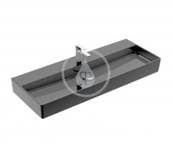 VILLEROY & BOCH - Memento 2.0 Umyvadlo 1200x470 mm, s přepadem, otvor pro baterii, CeramicPlus, Glossy Black (4A22C5S0)