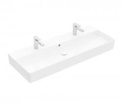 VILLEROY & BOCH - Memento 2.0 Dvojumyvadlo nábytkové 1200x470 mm, s přepadem, 2 otvory pro baterii, CeramicPlus, alpská bílá (4A22CKR1)