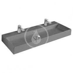 VILLEROY & BOCH - Memento Dvojumyvadlo 1200x470 mm, bez přepadu, 2 otvory pro baterii, CeramicPlus, Glossy Black (5133C1S0)