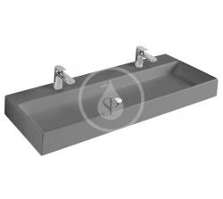 VILLEROY & BOCH - Memento Dvojumyvadlo 1200x470 mm, bez přepadu, 2 otvory pro baterii, CeramicPlus, Glossy Black (5133CGS0)