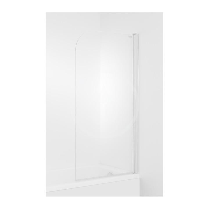 JIKA Cubito Vanová zástěna 1400x750 mm, pravá, stříbrná lesklá/transparentní sklo H2564250026681