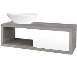 Dřevojas - Koupelnová skříň STORM SZZO 120 (umyvadlo Triumph) - D01 Beton / L01 Bílá vysoký lesk / Levé (131685)