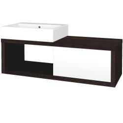 Dřevojas - Koupelnová skříň STORM SZZO 120 (umyvadlo Kube) - D08 Wenge / L01 Bílá vysoký lesk / Levé (156152)
