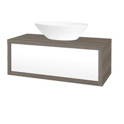 Dřevojas - Koupelnová skříň STORM SZZ 100 (umyvadlo Triumph) - D03 Cafe / L01 Bílá vysoký lesk (167981)