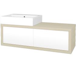 Dřevojas - Koupelnová skříň STORM SZZ2 120 (umyvadlo Kube) - D02 Bříza / L01 Bílá vysoký lesk / Pravé (170370P)