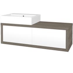 Dřevojas - Koupelnová skříň STORM SZZ2 120 (umyvadlo Kube) - D03 Cafe / L01 Bílá vysoký lesk / Pravé (170387P)