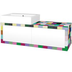 Dřevojas - Koupelnová skříň STORM SZZ2 120 (umyvadlo Kube) - IND Individual / L01 Bílá vysoký lesk / Pravé (170455P)