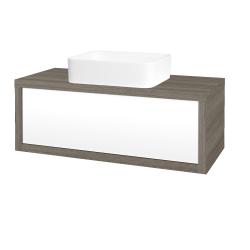Dřevojas - Koupelnová skříň STORM SZZ 100 (umyvadlo Joy) - D03 Cafe / L01 Bílá vysoký lesk (213411)