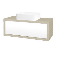 Dřevojas - Koupelnová skříň STORM SZZ 100 (umyvadlo Joy) - D04 Dub / L01 Bílá vysoký lesk (213428)