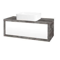 Dřevojas - Koupelnová skříň STORM SZZ 100 (umyvadlo Joy) - D10 Borovice Jackson / L01 Bílá vysoký lesk (213466)