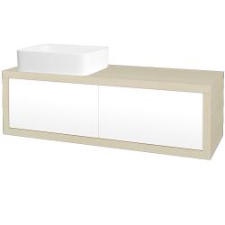 Dřevojas - Koupelnová skříň STORM SZZ2 120 (umyvadlo Joy) - D02 Bříza / L01 Bílá vysoký lesk / Levé (213787)