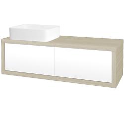 Dřevojas - Koupelnová skříň STORM SZZ2 120 (umyvadlo Joy) - D04 Dub / L01 Bílá vysoký lesk / Levé (213800)