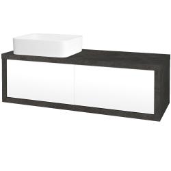 Dřevojas - Koupelnová skříň STORM SZZ2 120 (umyvadlo Joy) - D16  Beton tmavý / L01 Bílá vysoký lesk / Levé (213886)