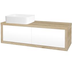Dřevojas - Koupelnová skříň STORM SZZ2 120 (umyvadlo Joy) - D15 Nebraska / L01 Bílá vysoký lesk / Levé (214012)