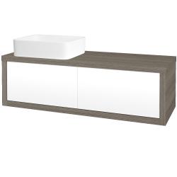 Dřevojas - Koupelnová skříň STORM SZZ2 120 (umyvadlo Joy) - D03 Cafe / L01 Bílá vysoký lesk / Pravé (214173P)