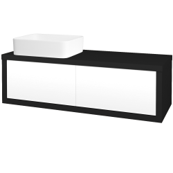 Dřevojas - Koupelnová skříň STORM SZZ2 120 (umyvadlo Joy) - N08 Cosmo / L01 Bílá vysoký lesk / Pravé (214340P)